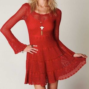 FREE PEOPLE Crochet Bell Sleeve Fit Flare Dress